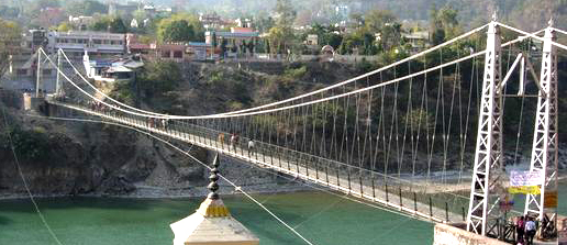 Bridge across the river in Rishikesh (evening arati's here are also beautiful)